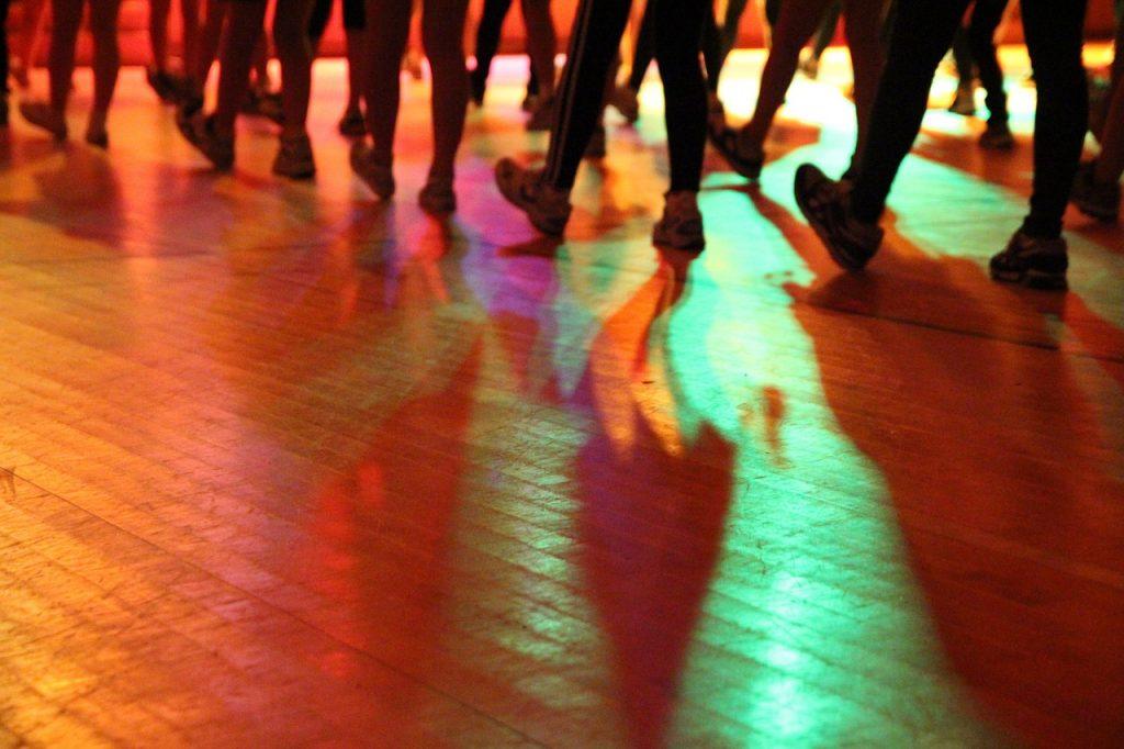 dance, silhouette, lighting effects